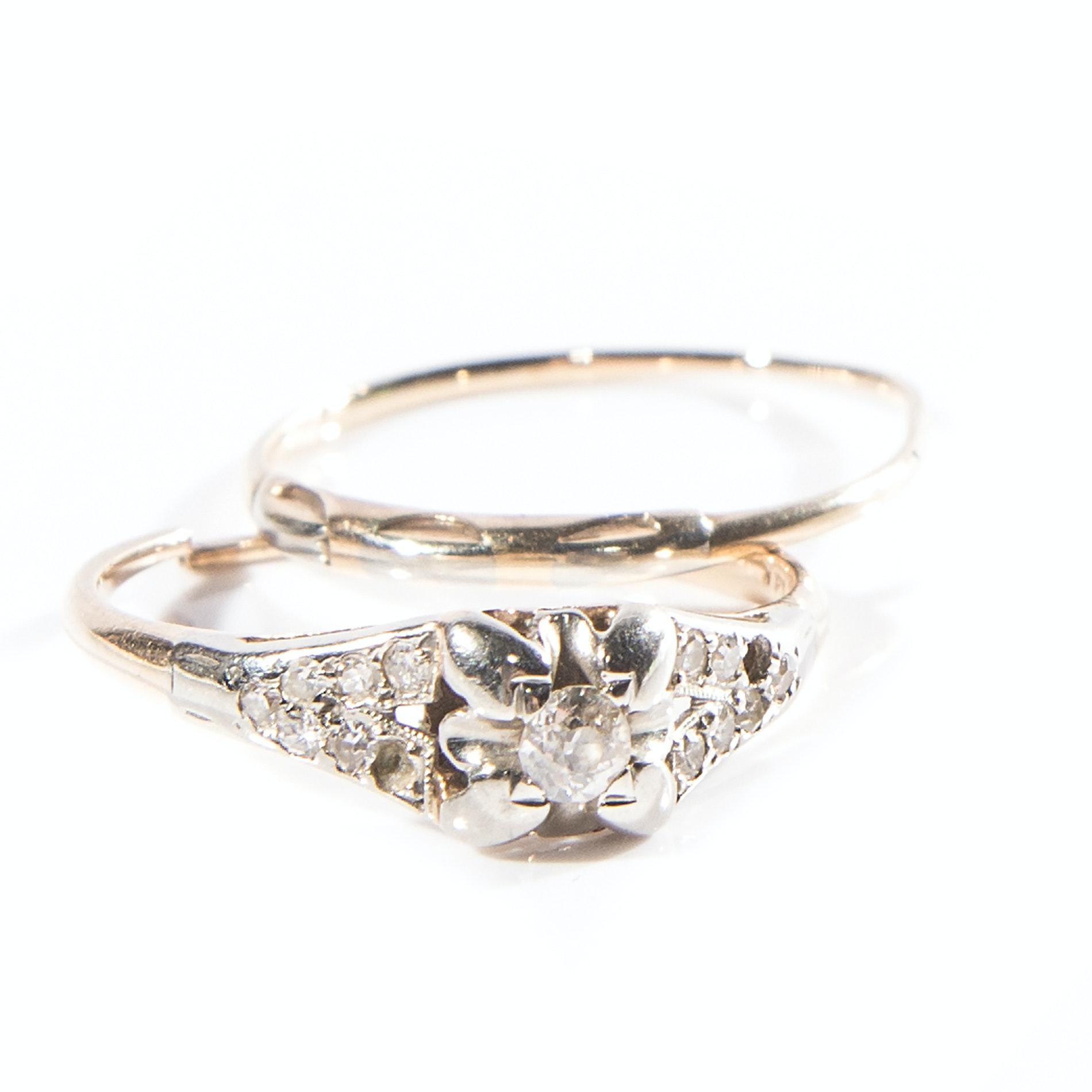 14K Gold and Diamond Wedding Set