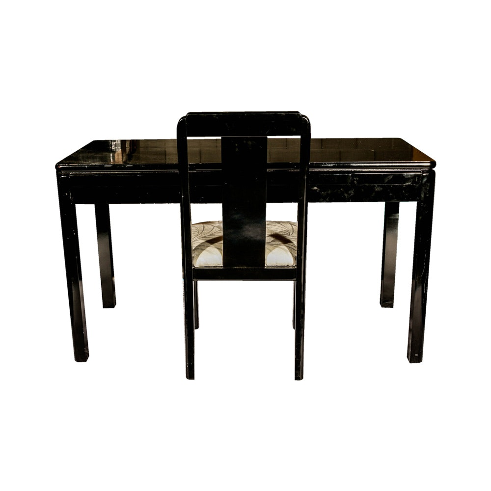 Lane Black Lacquered Desk and Chair