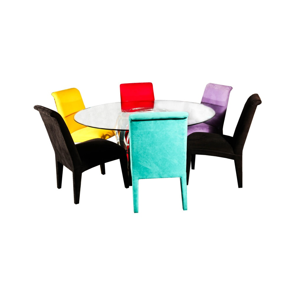 Glass Top Round Table With Multi Color Chairs