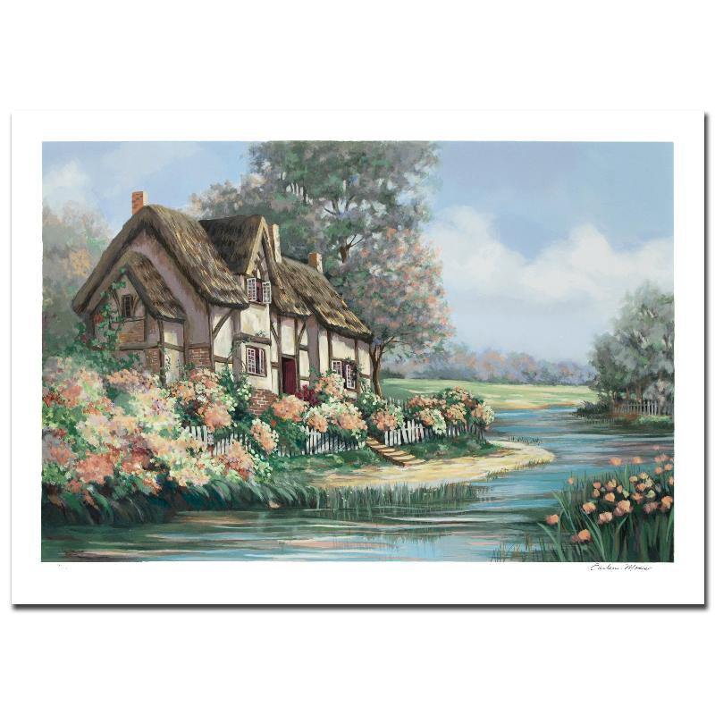 """Earlene Moses Signed Limited Edition Serigraph """"Springtime in Sheffield"""""""