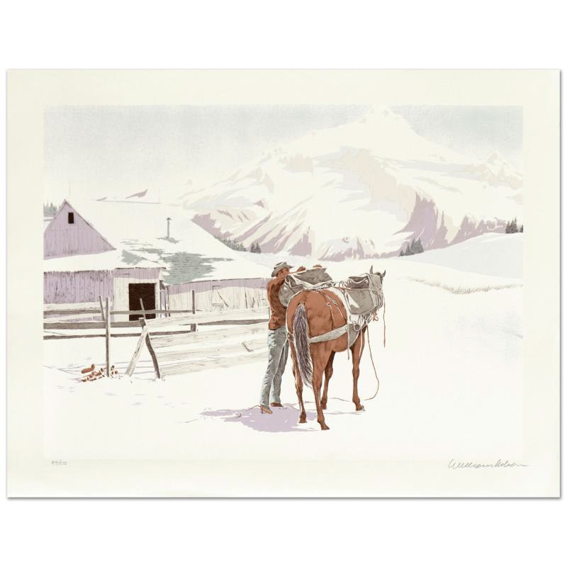 "William Nelson Signed Limited Edition Lithograph ""Saddling Up"""