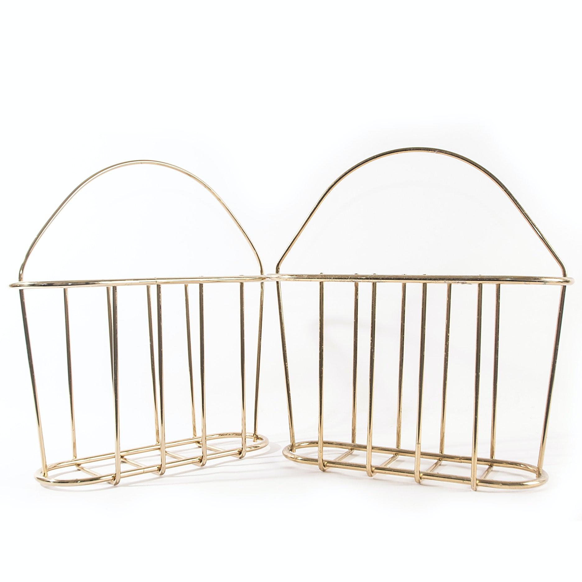 Mid Century Modern Brass Magazine Baskets