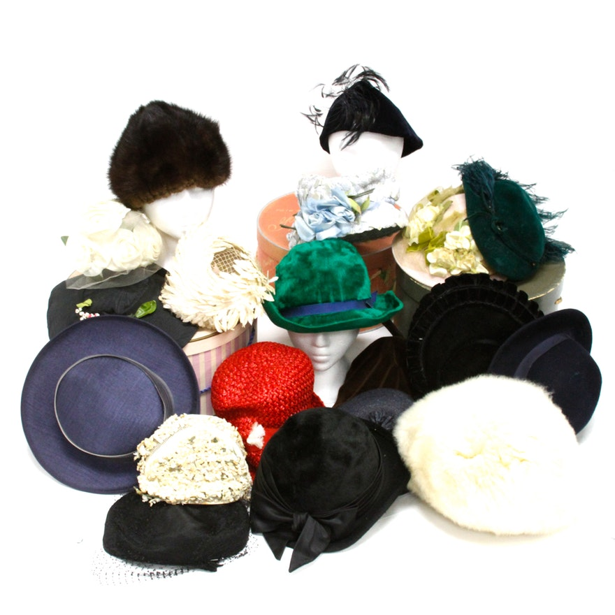 Vintage Hats Including Mr. John Jr. and Evelyn Varon   EBTH 91a02e0ad4c