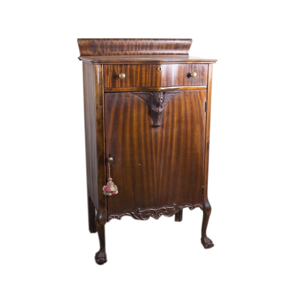 Antique Player Piano Roll Cabinet