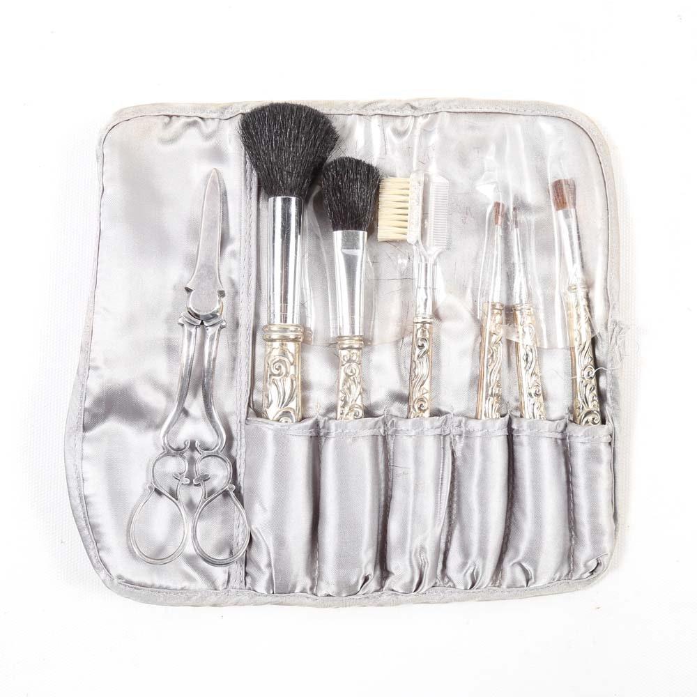Silver Plated Makeup Brush Set