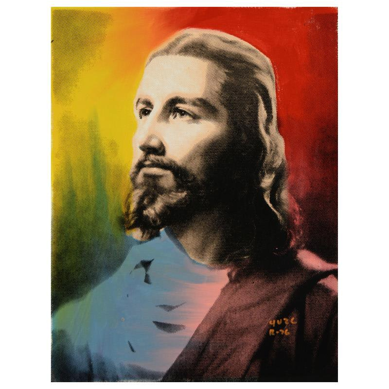 "Ringo Silkscreen and Mixed Media Painting on Canvas ""Jesus"""
