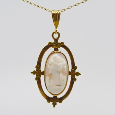 Antique 10K Rose Gold Coral Cameo Pendant on a 10K Yellow Gold Necklace