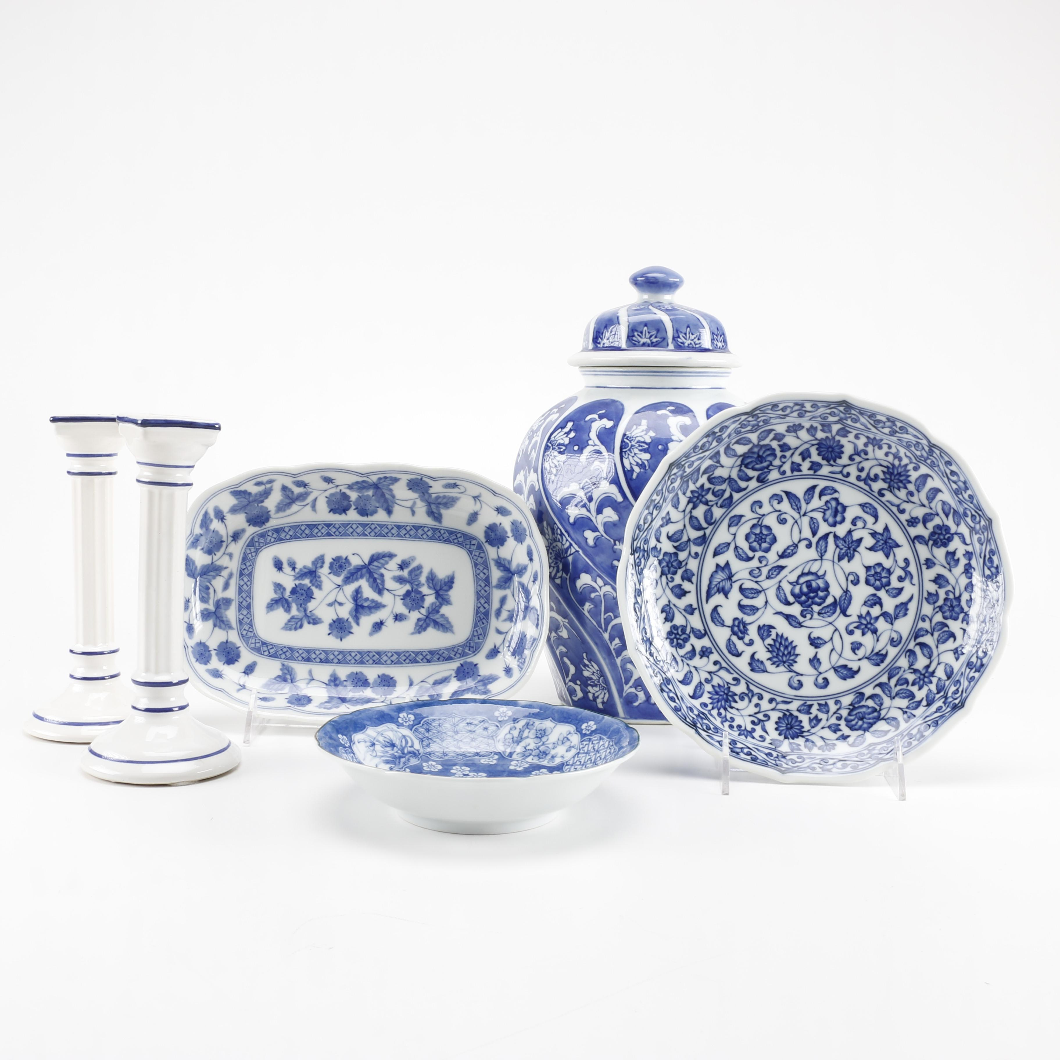 Collection of White and Blue China From Japan