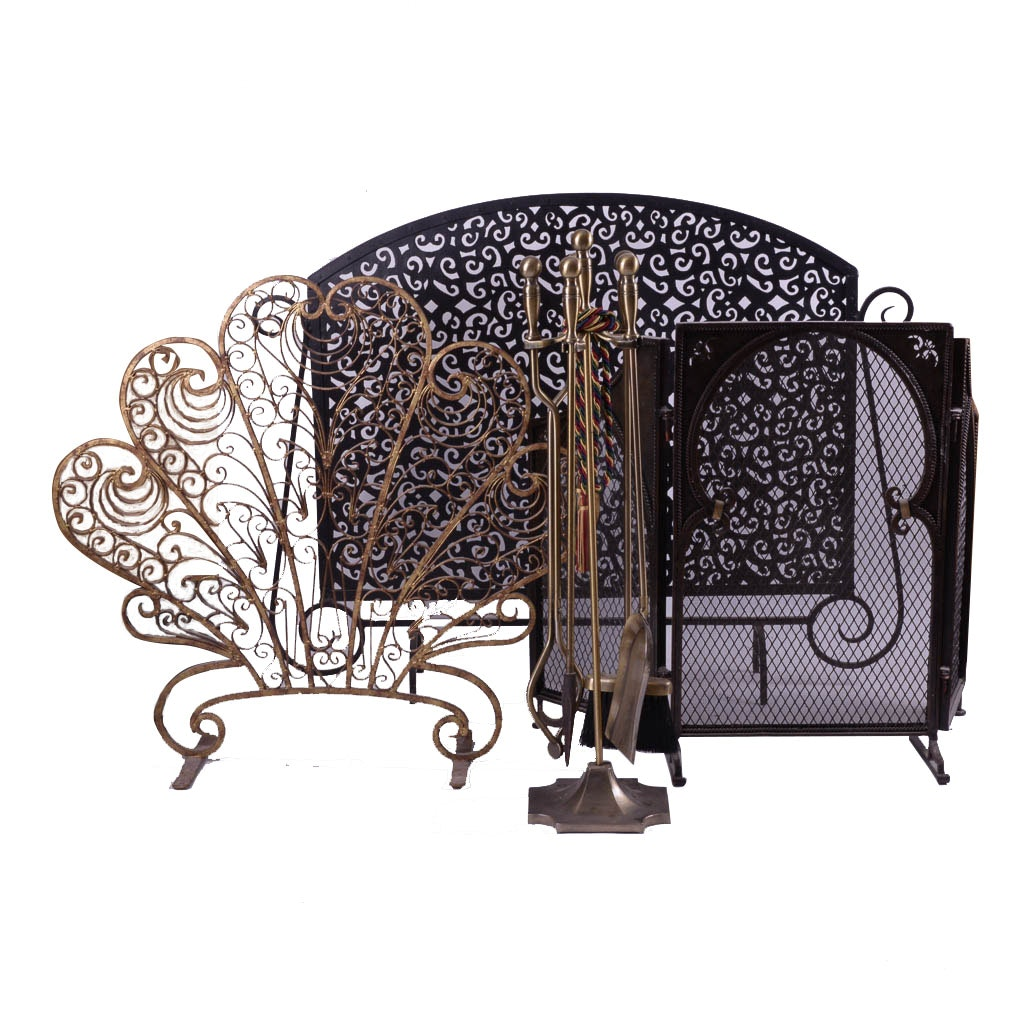 Collection of Fireplace Screens and Tools