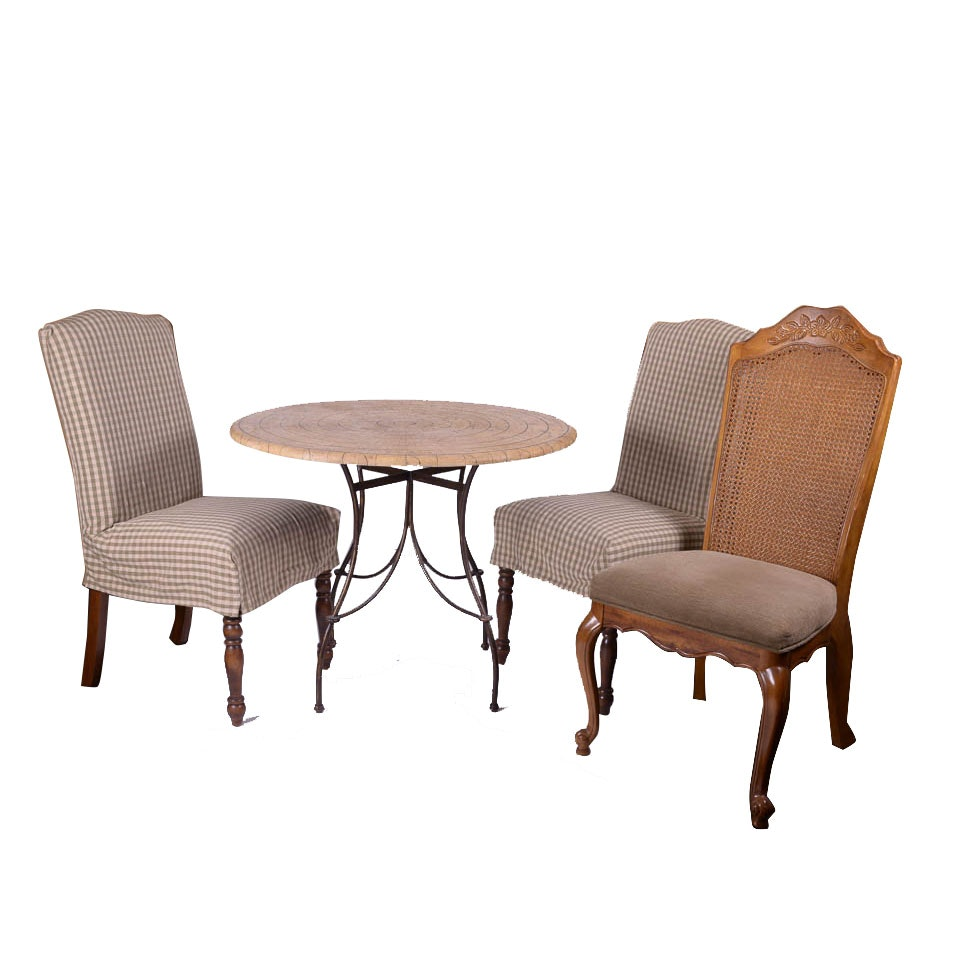 Coconut Wood and Wrought Iron Table With Dining Chairs