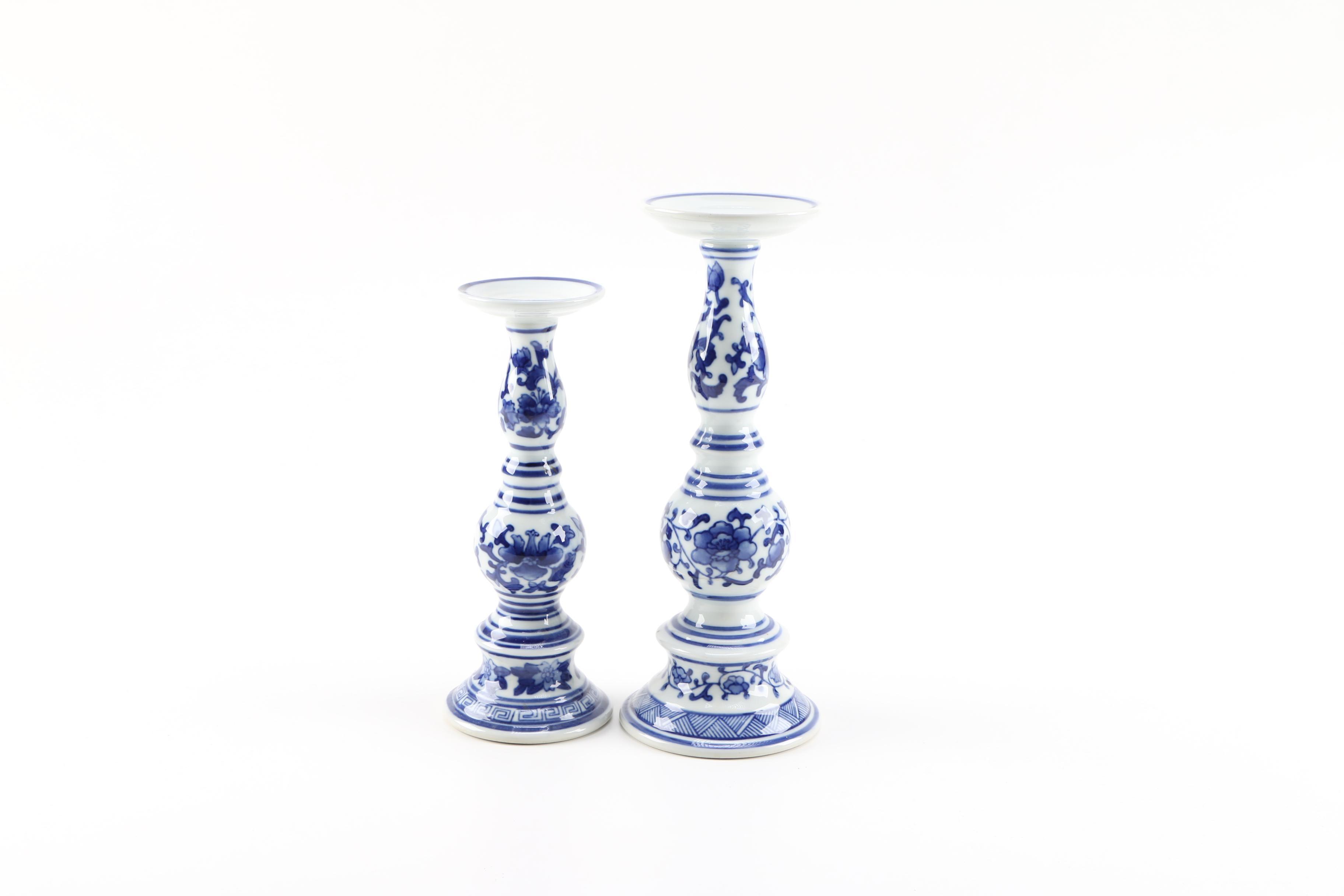 Chinese Cobalt and White Ceramic Pedestals