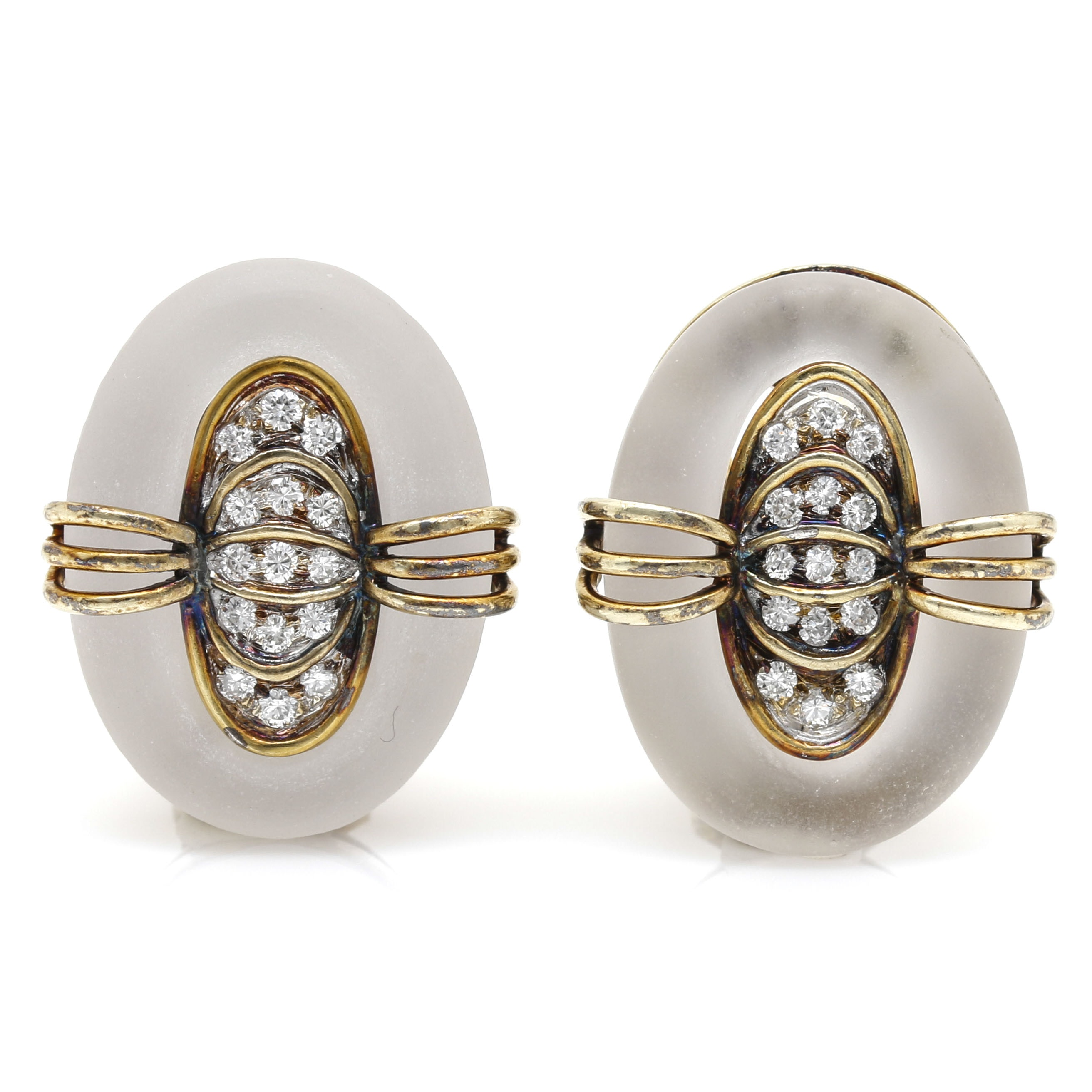 10K Yellow Gold Frosted Quartz and Diamond Earrings
