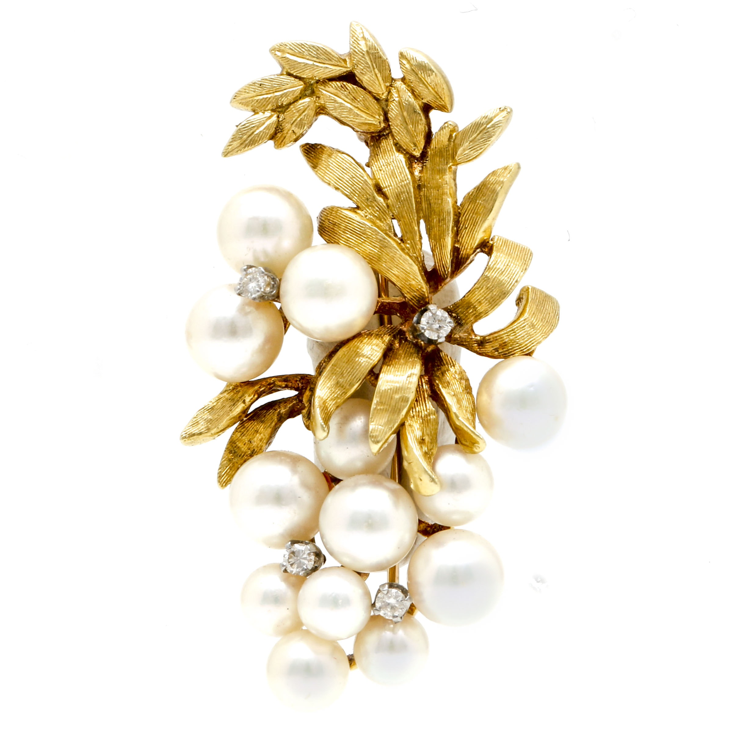 18K Yellow Gold Cultured Pearl and Diamond Leaf Motif Brooch