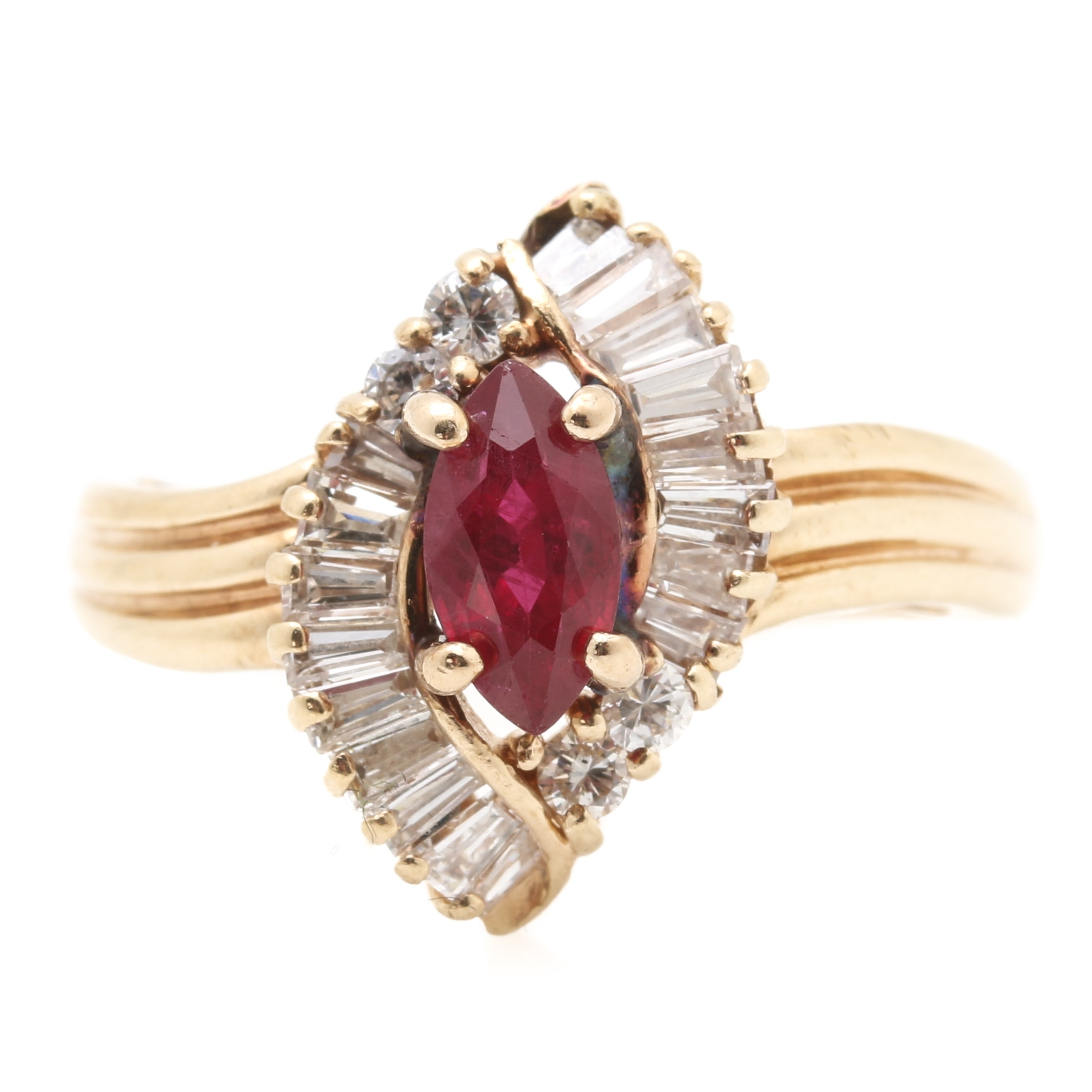 14K Yellow Gold Ruby and 0.75 CTW Diamond Ring