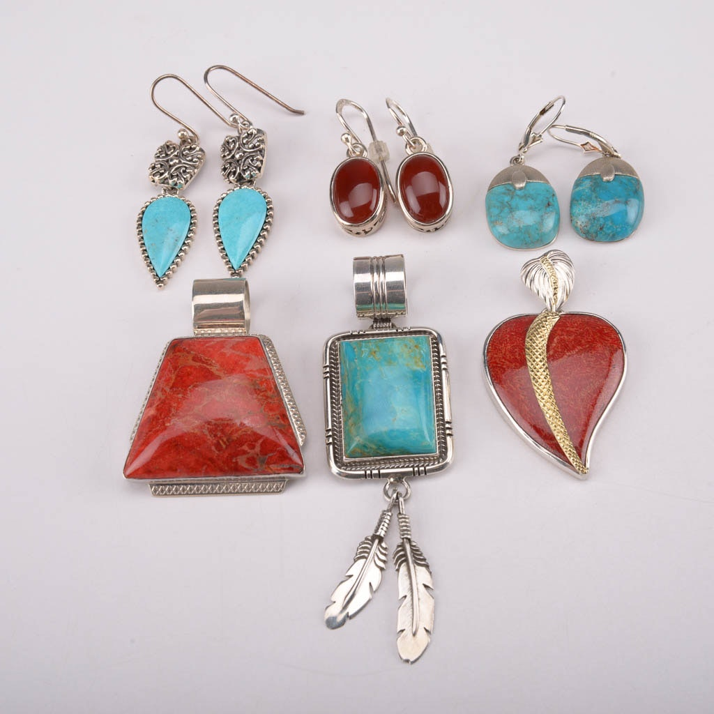 Collection of Sterling Silver Earrings and Pendants With Turquoise, Coral, and Carnelian