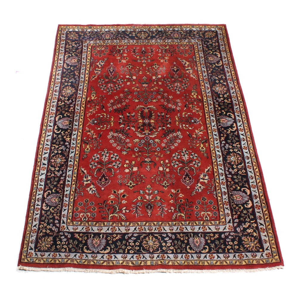 Hand-Knotted Indo-Persian Sarouk Area Rug