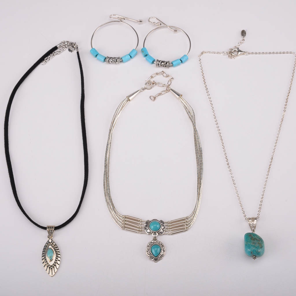 Assortment of Turquoise and Sterling Silver Jewelry