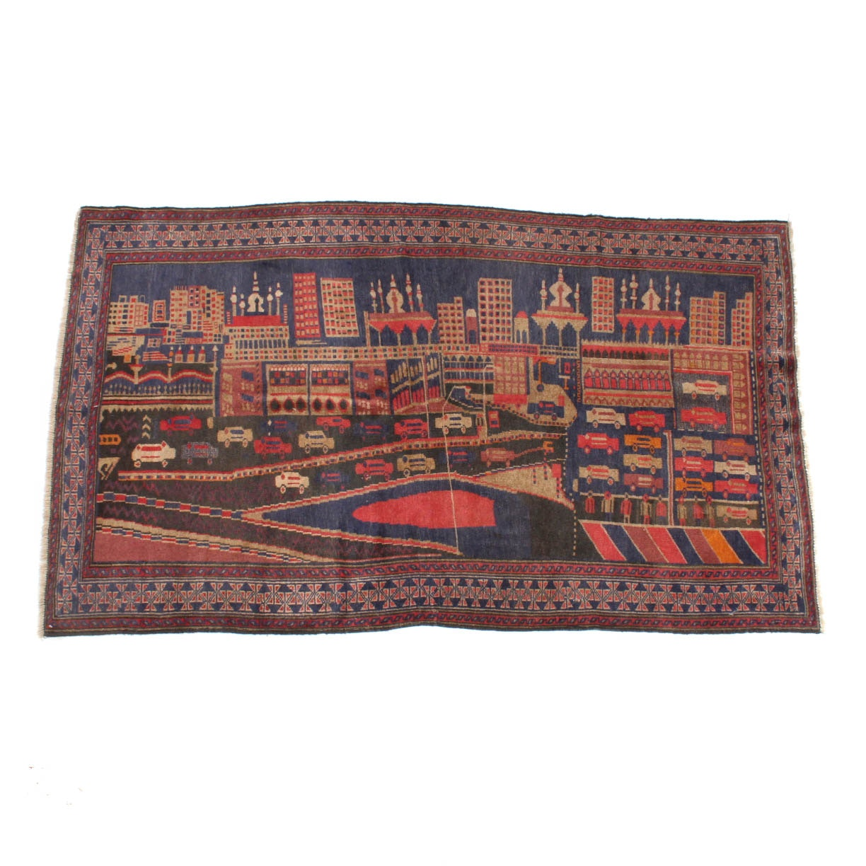 Hand-Knotted Afghani Baluch Pictorial Area Rug