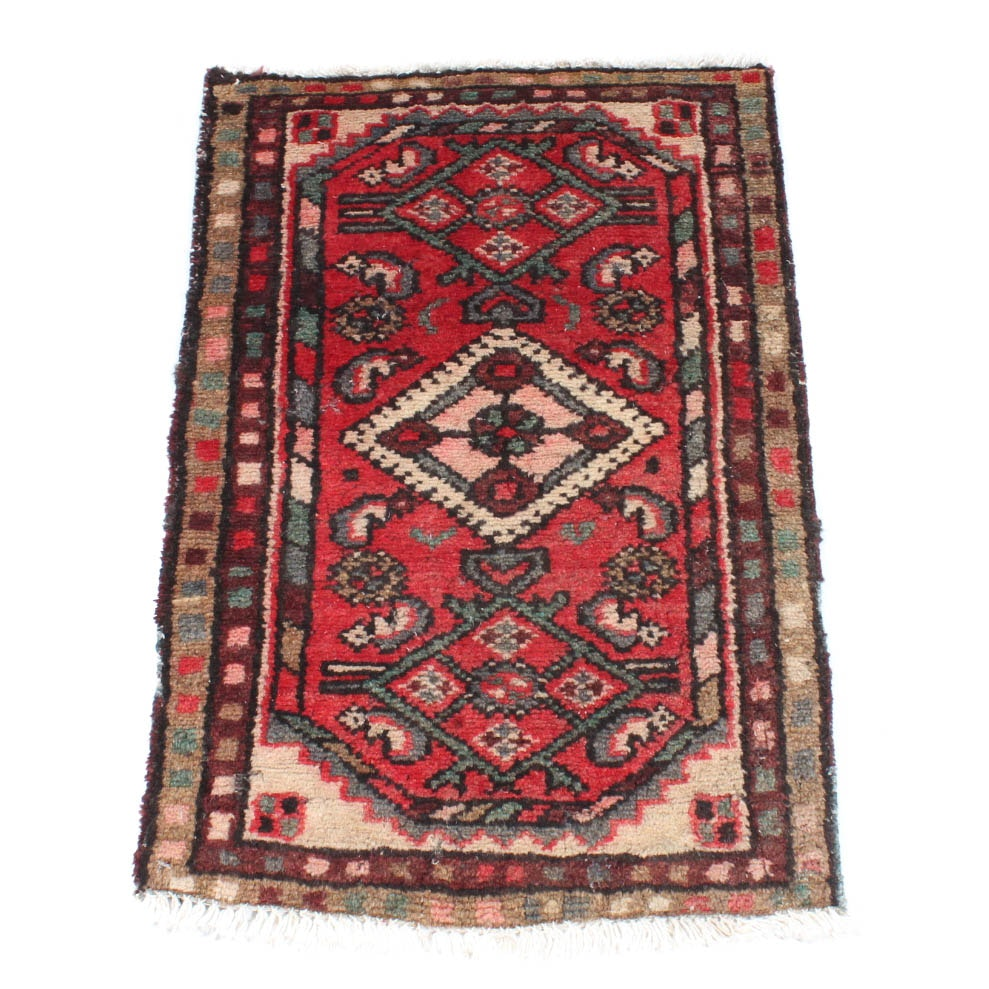 Antique Hand-Knotted Persian Hamadan Accent Rug