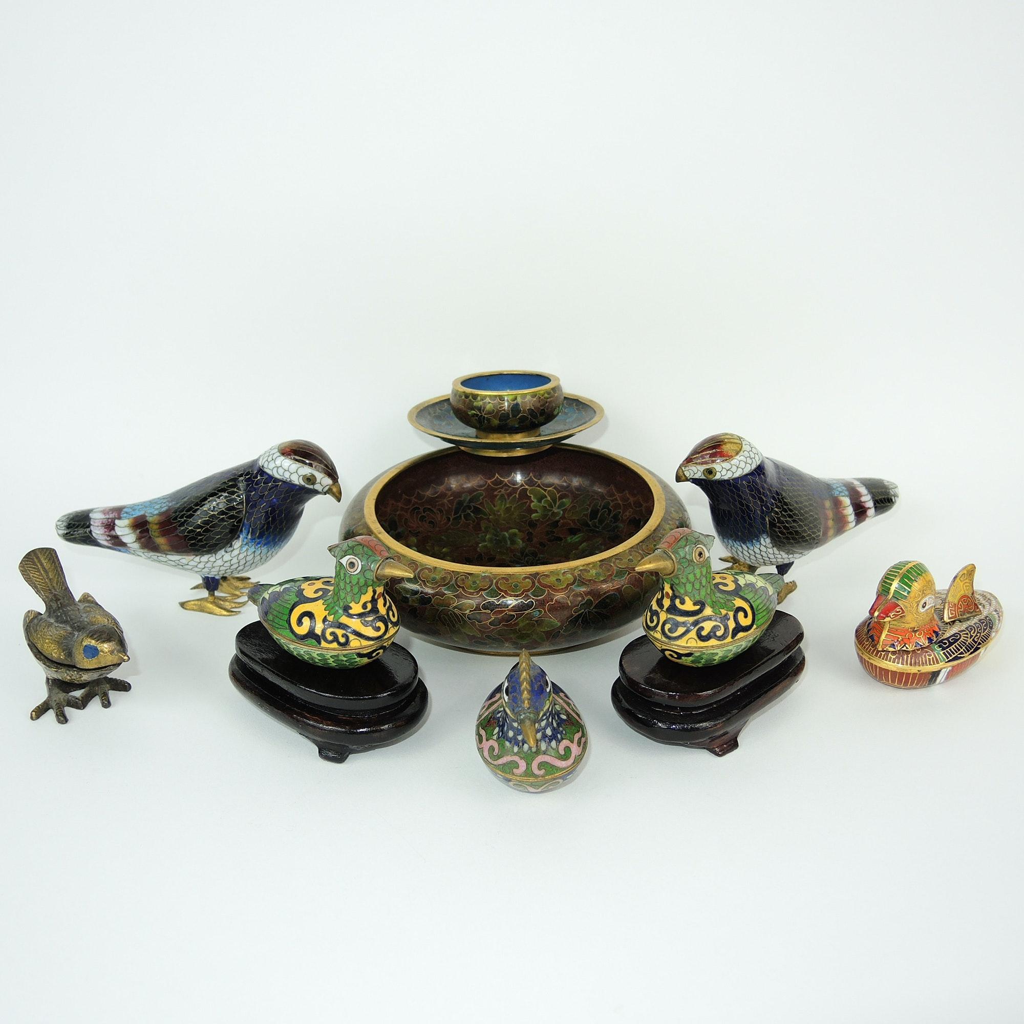 Vintage Cloisonné Birds and Bowls Collection