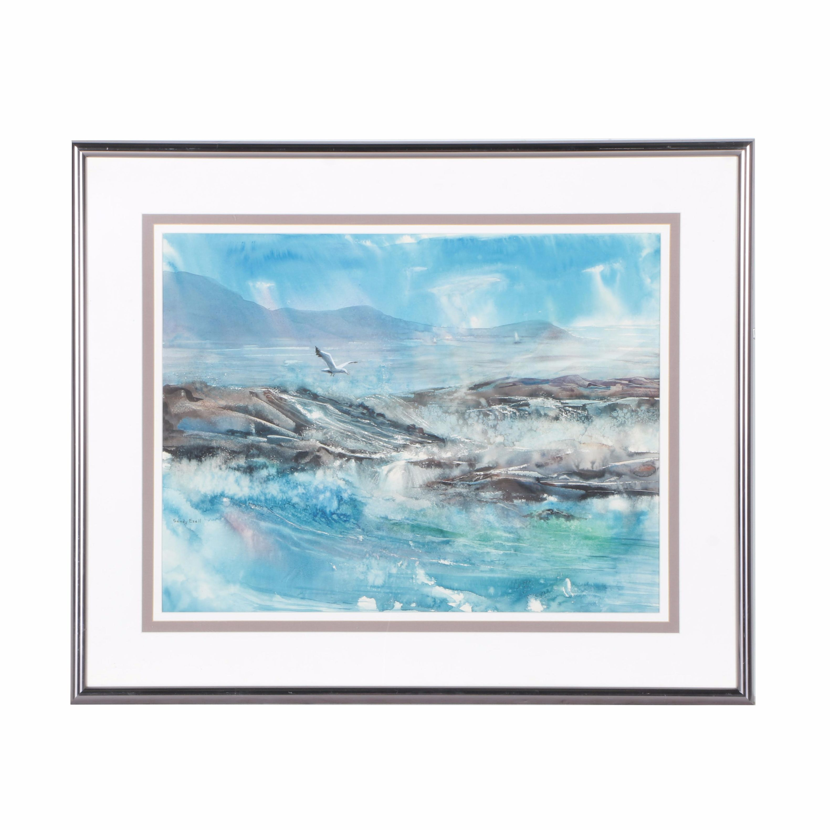 Sandy Ezell Watercolor of the Ocean