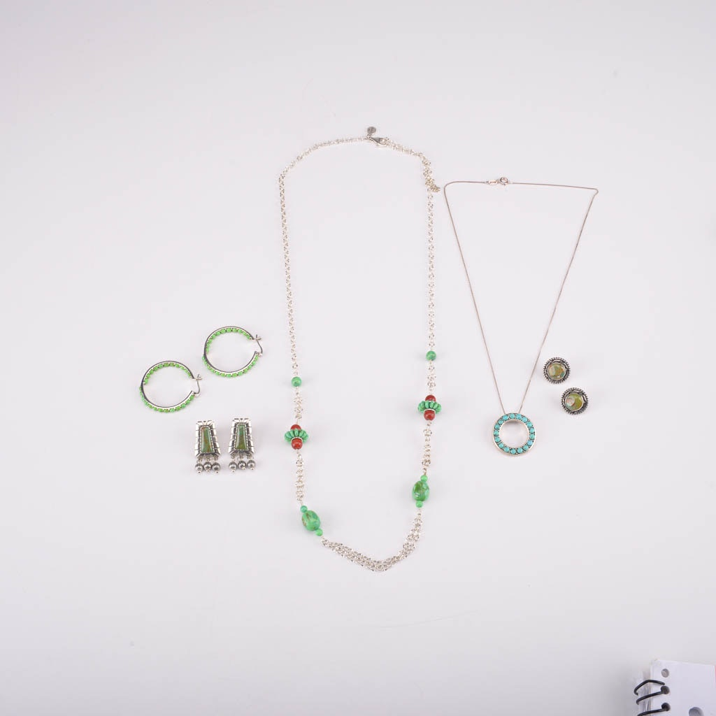 Collection of Sterling Silver Necklaces and Earrings With Turquoise and Gaspeite