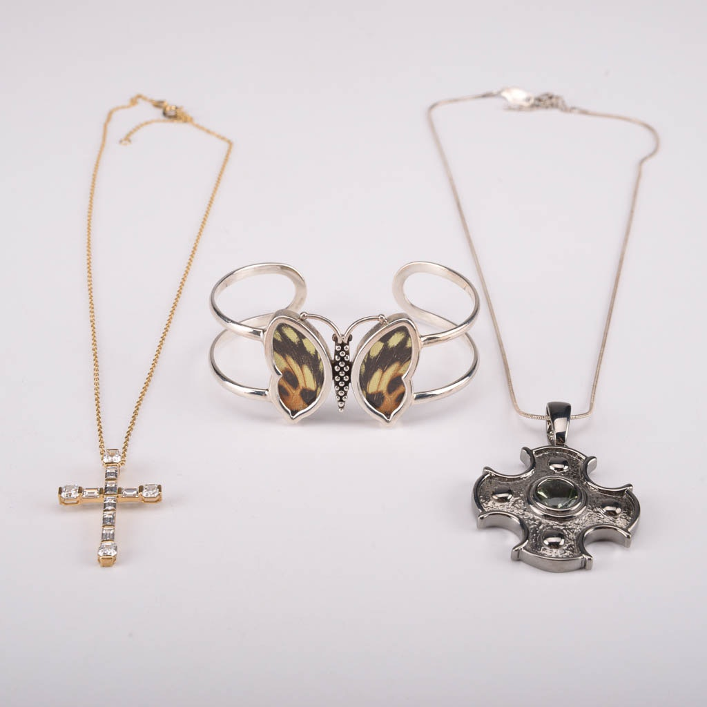 Assortment of Sterling Silver Necklaces and Bracelet With Prasiolite and Cubic Zirconia