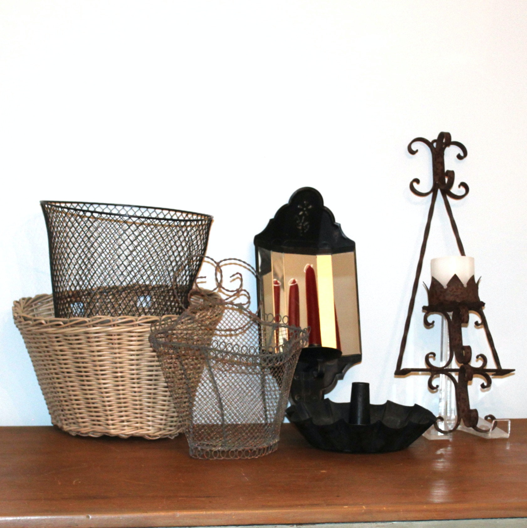 Vintage Baskets and Candleholders