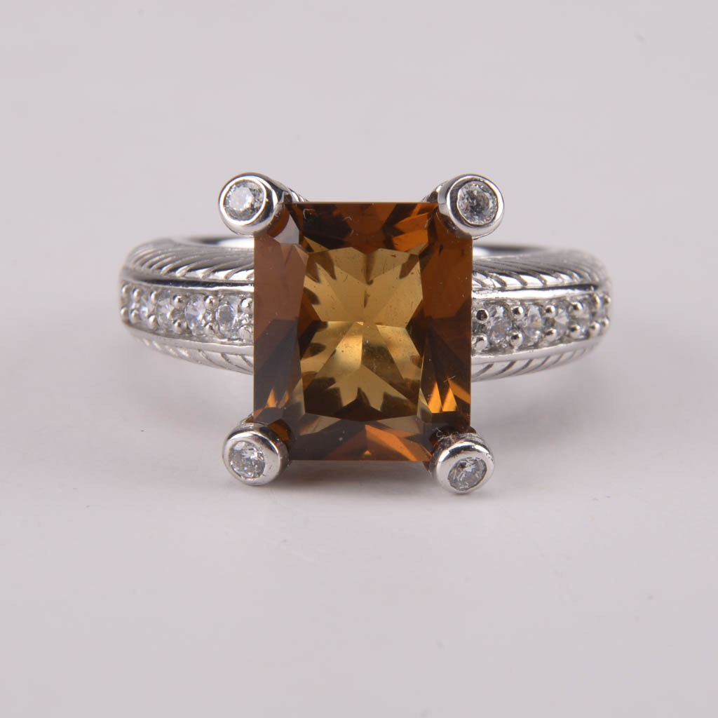 Judith Ripka Citrine and Cubic Zirconia Sterling Silver Ring