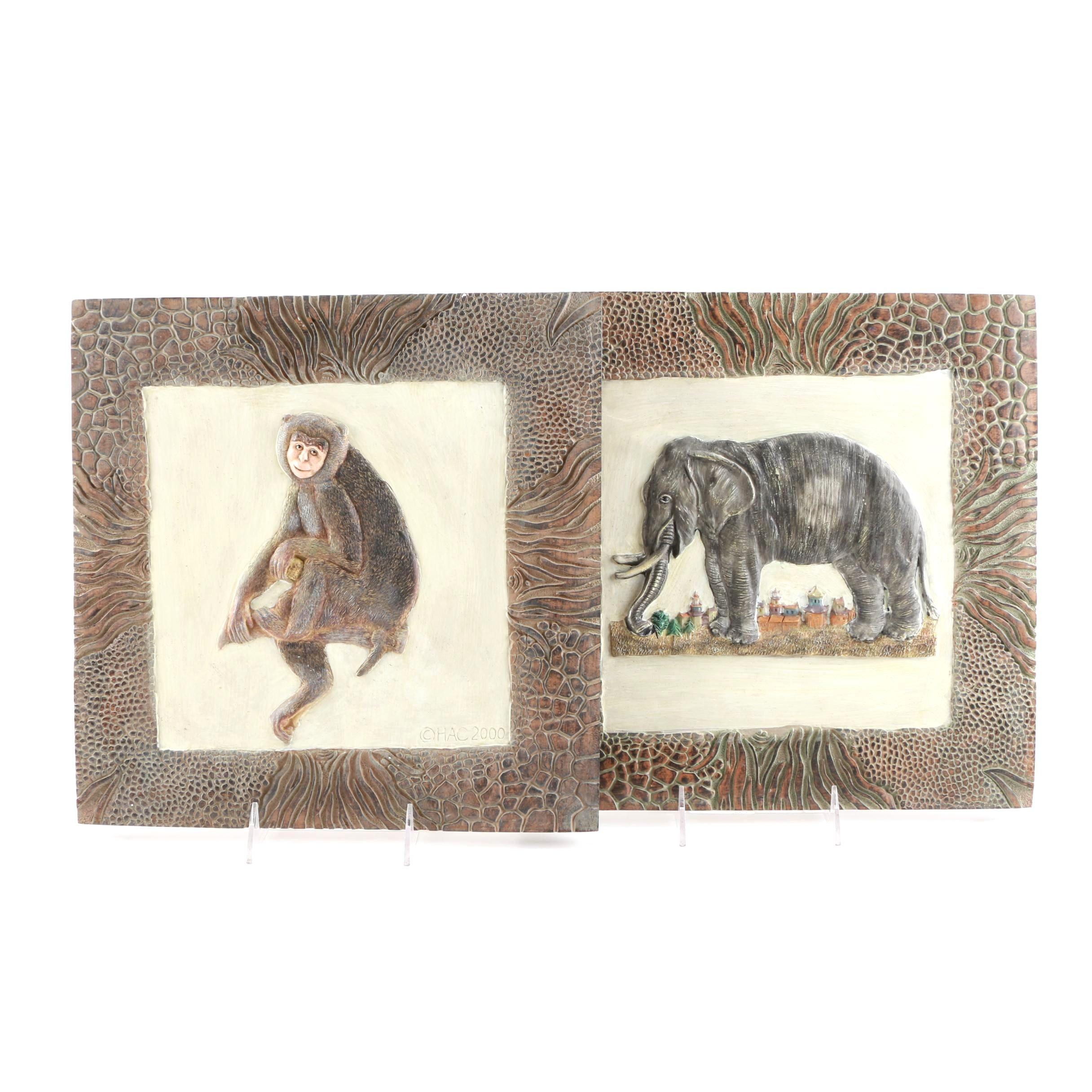 Elephant and Monkey Themed Wall Art