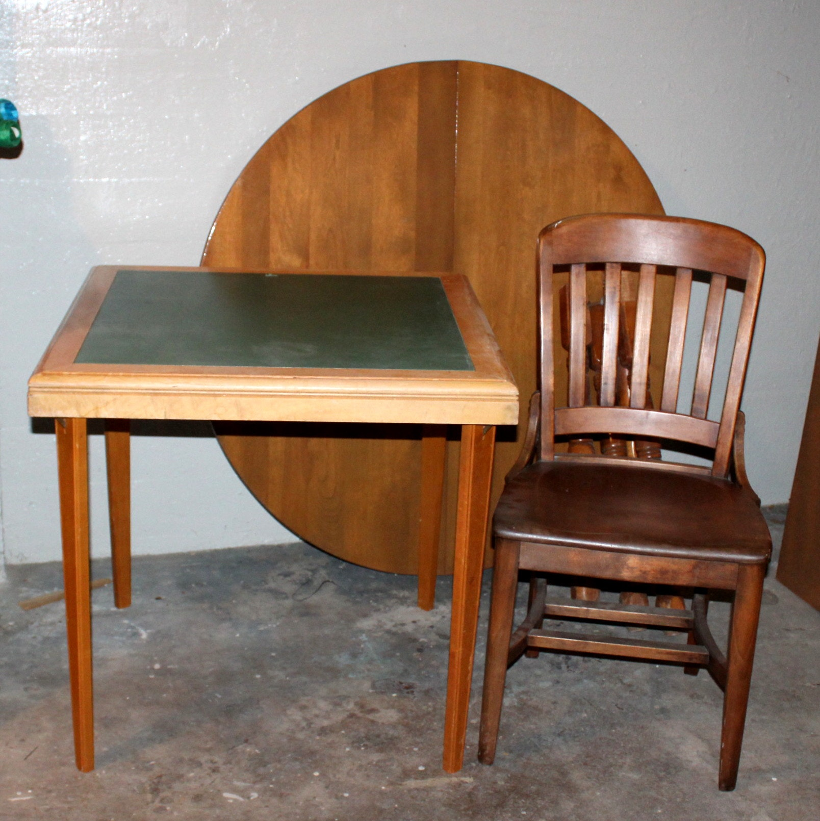 Vintage Walnut Table with Chair Plus Card Table