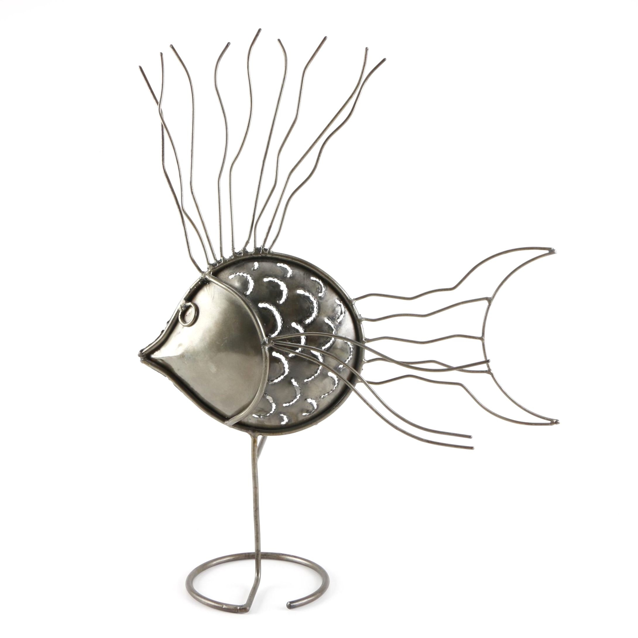 Silver Tone Metal Fish Candle Stand
