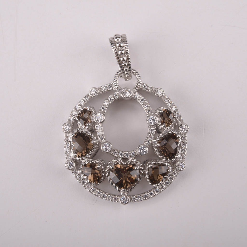 Judith Ripka Smoky Quartz, Cubic Zirconia, and Sterling Silver Pendant