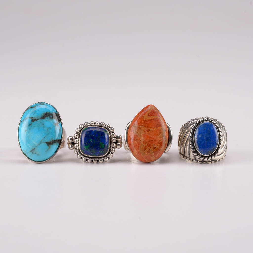 Collection of Sterling Silver Rings With Malachite, Coral, Denim Lapis, and Turquoise
