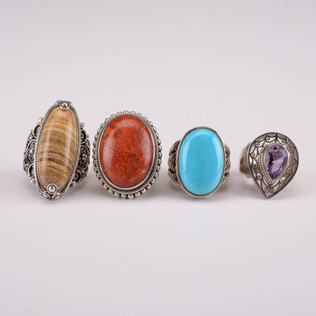 Collection of Sterling Silver Rings With Jasper, Turquoise, Coral, and Amethyst