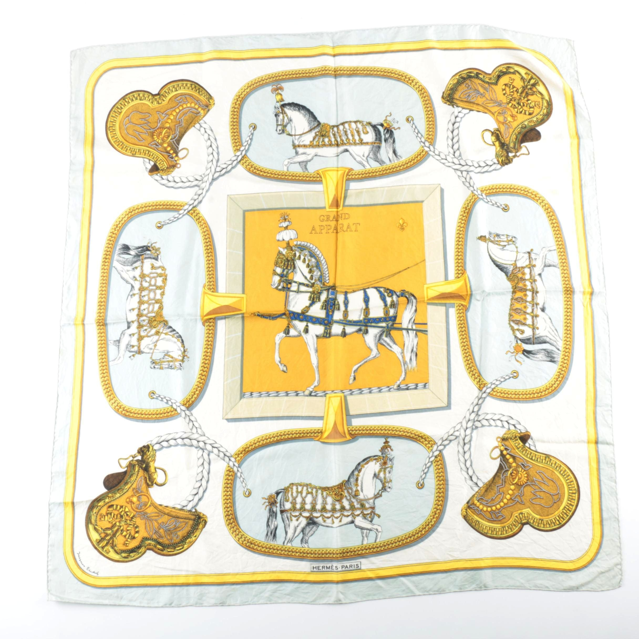 "Hermès ""Grand Apparat"" Silk Scarf by Jacques Eudel"