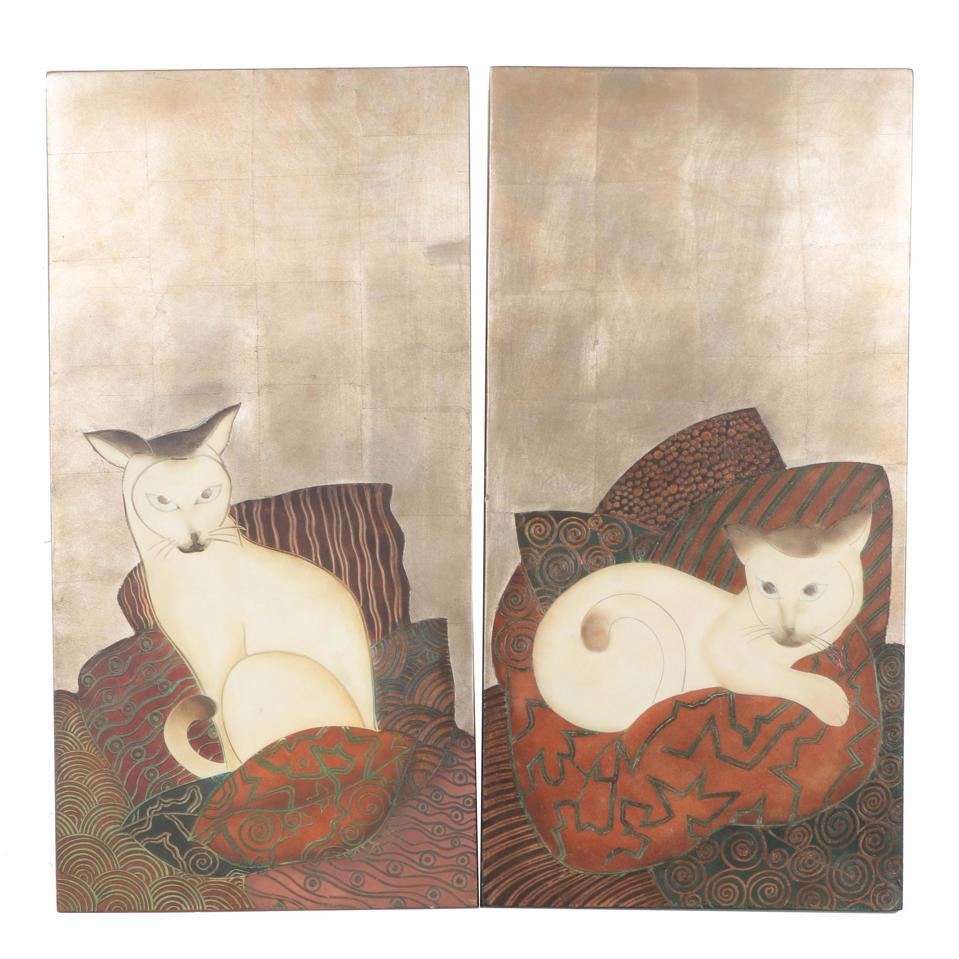 Mixed Media Relief Panels Depicting Cats