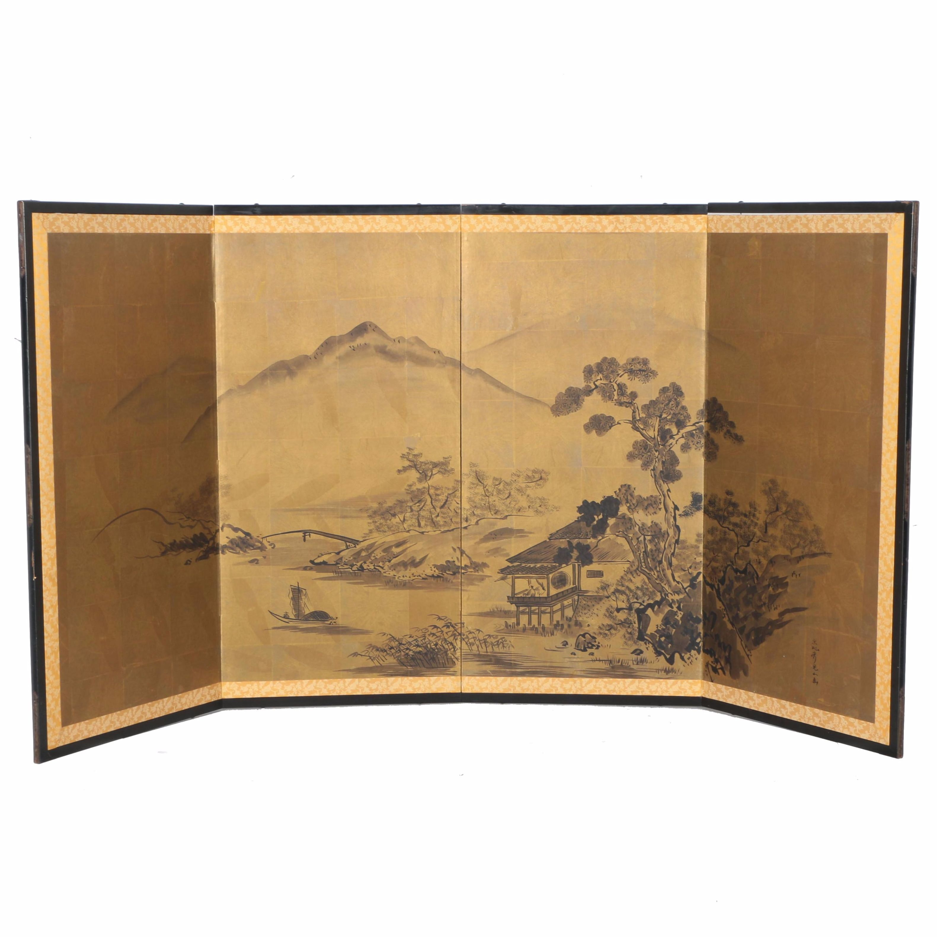 Hand-Painted Four-Panel Japanese Folding Screen