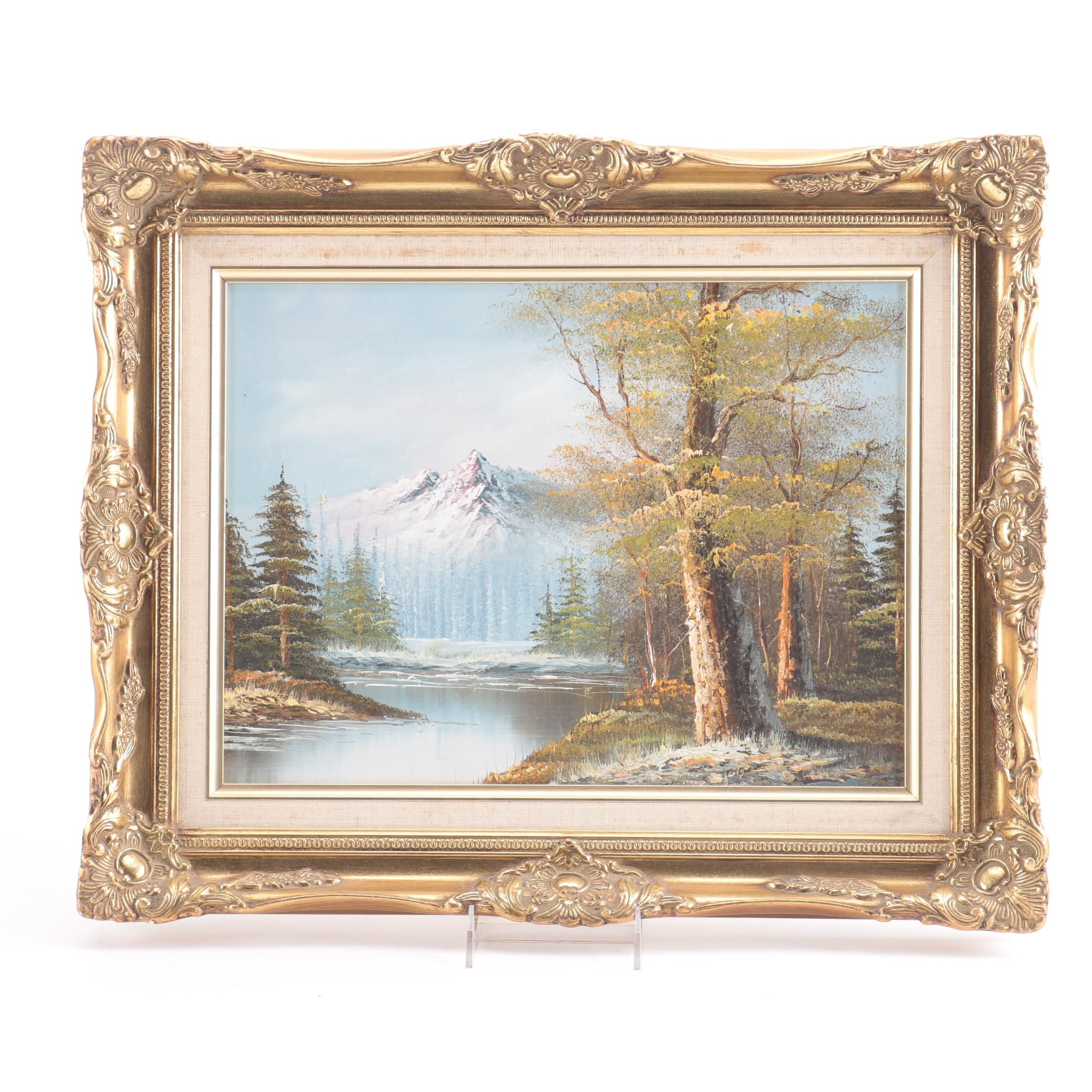 Oil Painting on Canvas of Mountain Landscape Scene