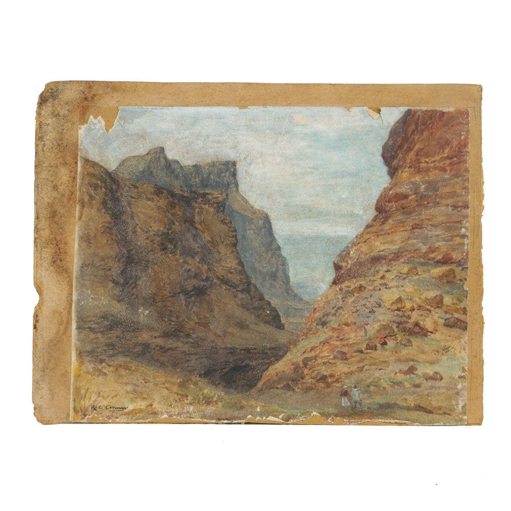 After Roderic O'Connor Gouache Painting on Paper of a Desert Landscape