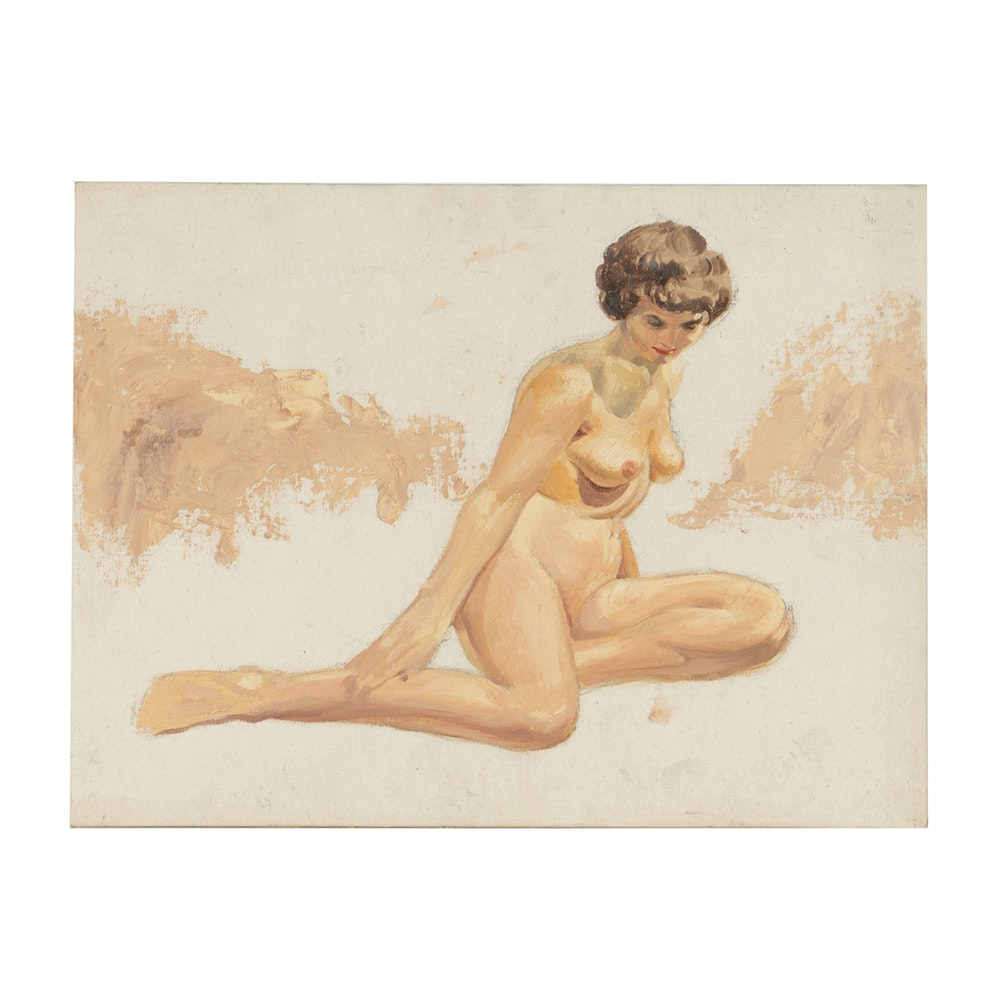 Oil Painting on Canvas Board of Nude Woman