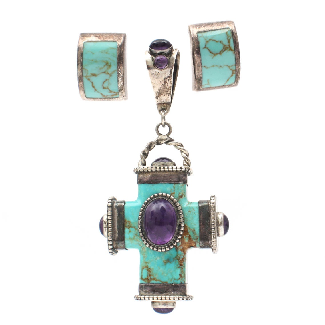 Sterling Silver Turquoise and Amethyst Pendant with Earrings