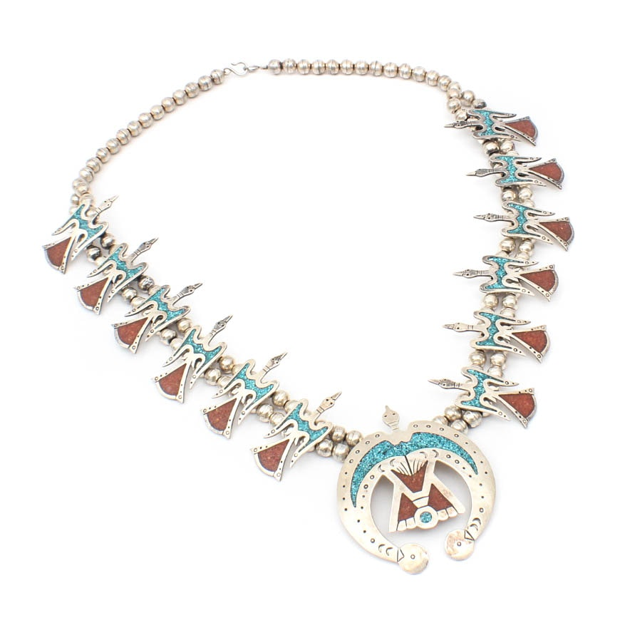 Sterling Silver Turquoise and Carnelian Peyote Bird Necklace
