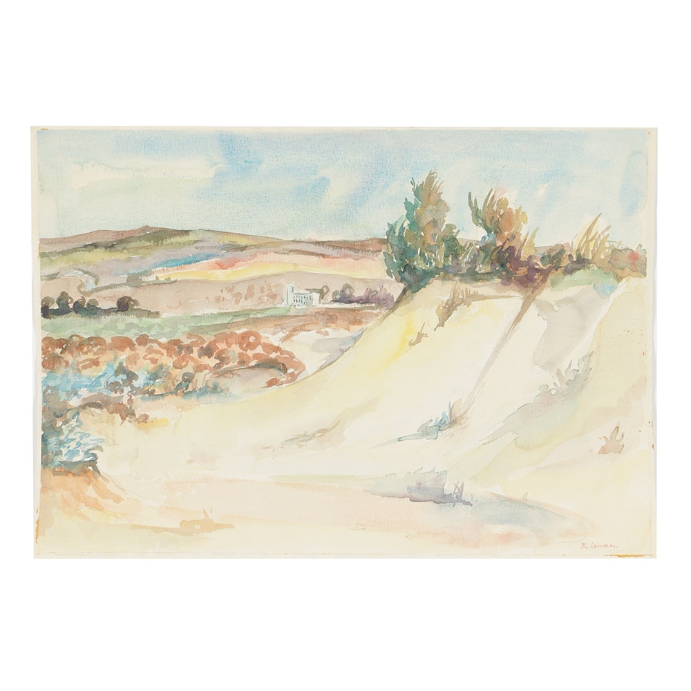 B. Lavau Watercolor Painting on Paper Hilly Landscape