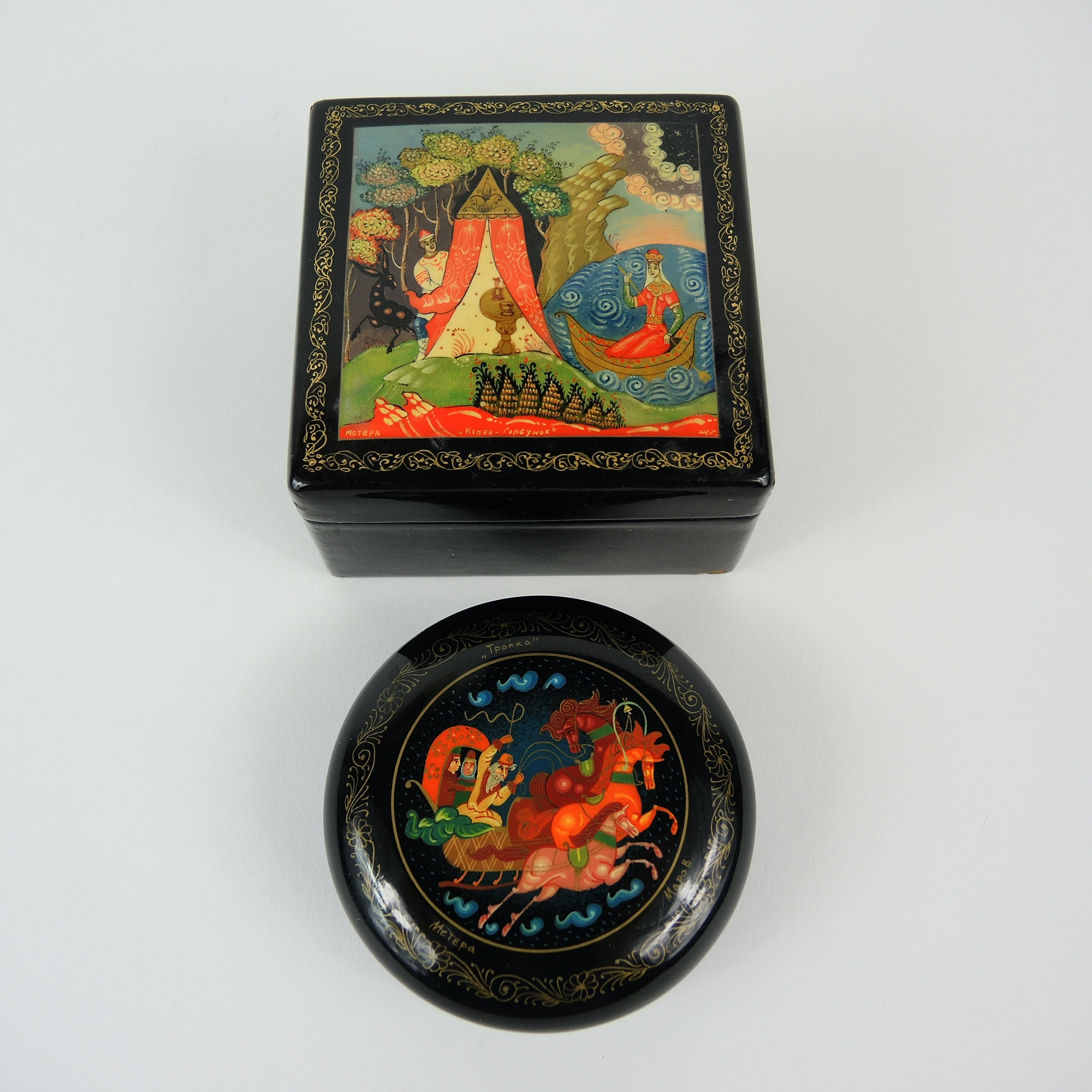 Russian Folk Art Lacquer Palekh Box Set