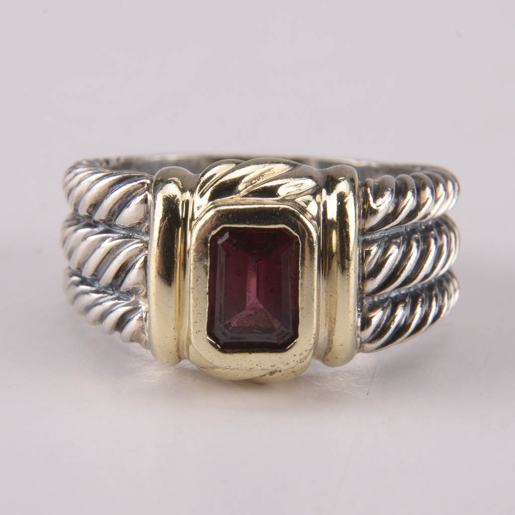 David Yurman Sterling Silver Ring With Garnet and 14K Gold Accents