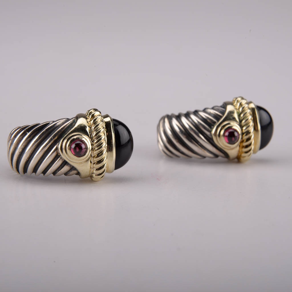 David Yurman Sterling Silver Earrings With Garnet, Black Onyx, and 14K Yellow Gold Accents
