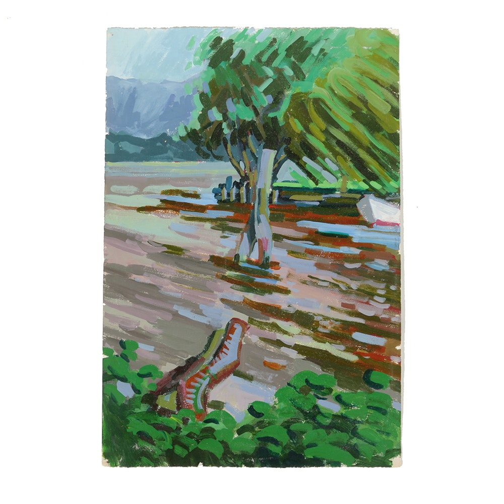 Late 20th-Century Acrylic Painting on Paper River Landscape