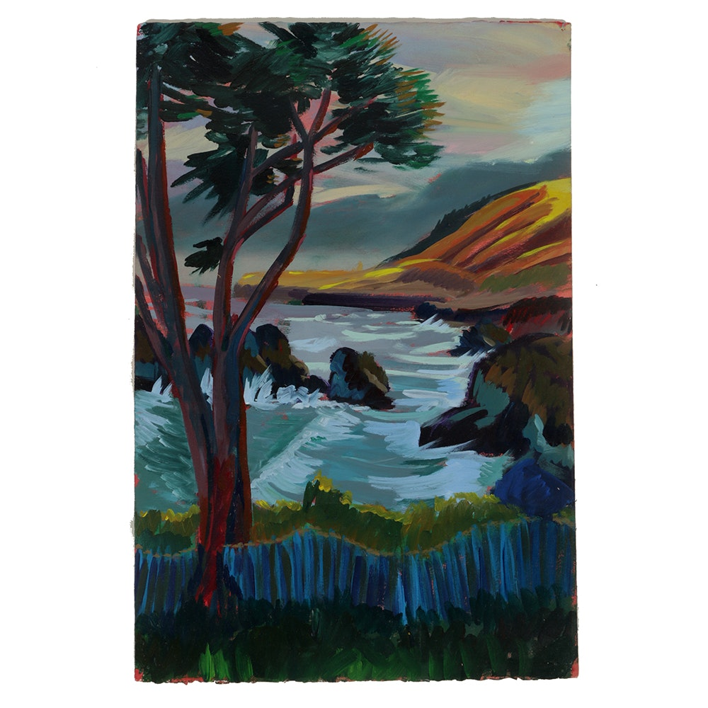 "Late 20th-Century Acrylic Painting on Paper ""The Sea and the Tree"""