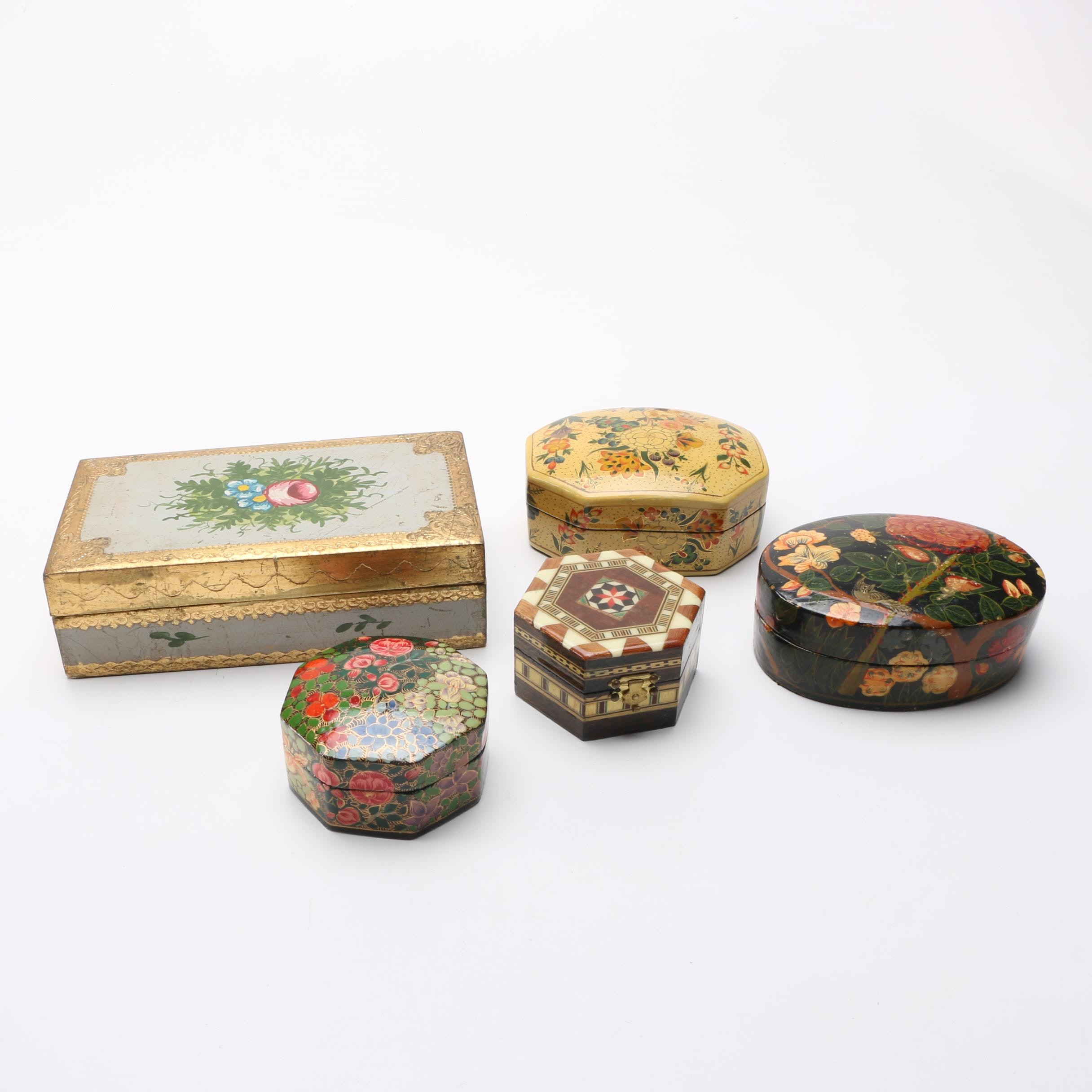 Vintage Handmade Wooden Trinket Boxes From India and Italy